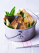 Sword fish with lemon and mint