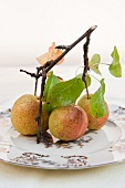 Three pears on a twig on an old fashioned plate
