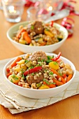 Minced pork balls with barley and vegetables
