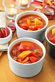 Beef goulash with pepper and potatoes