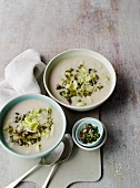 Cream of leek soup with herb and nut spices