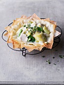 Chicken and vegetable ragout in puff pastry