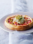 Rhubarb tart with pistachio ice cream