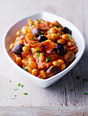 Beans in tomato sauce with chorizo