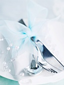 Elegantly decorated stainless steel cutlery