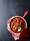 Beef goulash with sour cream