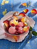 Raspberry and rose ice cream
