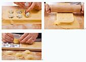 Ravioli being made on a ravioli board