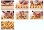 Tortellini filled with meat being made