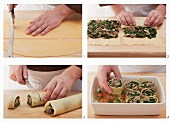 Cannelloni filled with minced meat and spinach being made