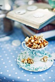 Salty popcorn with caramel sauce