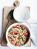 Buckwheat spaghetti with cherry tomatoes and parsley
