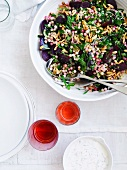 Moghrabieh salad with beetroot