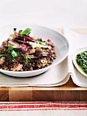 Lenticchie al radicchio (lentils with fennel sausage and radicchio)