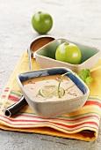 Crema de gambas (Spanish cream of prawn soup) with limes