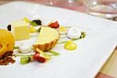 A passion fruit-themed dessert platter