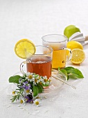 Hot tea in glass cups