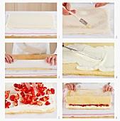 Biskuitrolle mit Erdbeer-Sahne-Füllung zubereiten