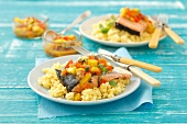 Salmon with warm mango salsa and couscous