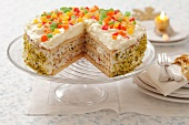 Sponge cake with cream and candied fruit (Christmas)
