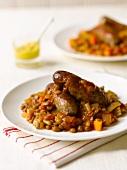 Sausages with a lentil medley