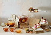 Tea, choux pastry and raspberry panna cotta