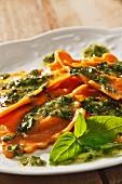 Lobster Ravioli with Homemade Pesto Sauce