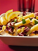 Maccaroni with grilled chicken strips and radicchio