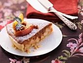 A slice of baked apple tart