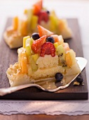 Colourful fruit slices with coconut macaroons