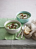 Cream of spinach soup with cream and fried ham