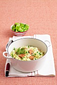 Vegetables and salmon risotto