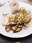 Fried aubergine slices with Lebanese couscous and harissa yogurt