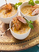 Red lentil soup with roast quail breast