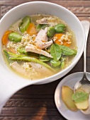 Bulgur soup with broad beans and rabbit
