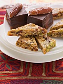 Mocha and date confectionery and sesame brittle with pistachios and dates