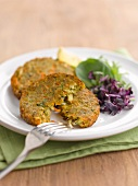 Vegetable and nut cakes with cress
