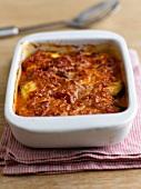 Parmigiana di melanzane (aubergine bake with tomato sauce)