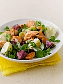 Salmon salad with potatoes and beetroot