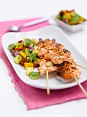 Prawn kebabs with avocado salsa