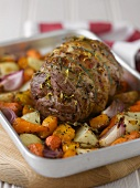 Roast beef with root vegetables