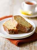 Two slices of lemon and ginger cake