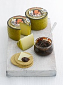 Manchego cheese, crackers and jam