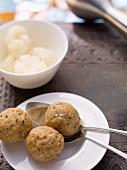 Liver dumplings and cauliflower