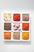 Ingredients for harissa (Tunisian spice mixture)