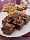 Mocha and date confectionery and sesame seed brittle with pistachios and dates