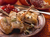 Roasted quail with pomegranate seeds