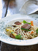Noodles with beef and vegetables