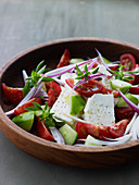 Tomato salad with feta and cucumber