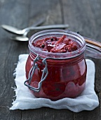 Rhubarb jam in a preserving jar